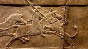Hombre a caballo lucha mesopotamia