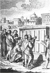 Ciudadanos Romanos examinando las XII tablas
