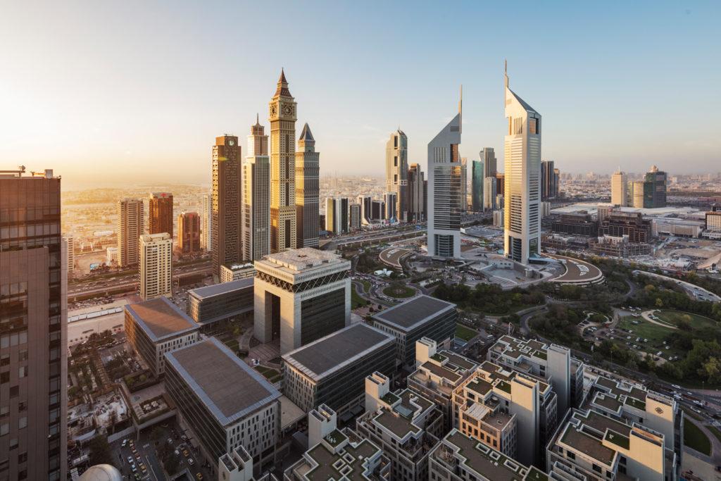 Vista aérea del Centro Financiero Internacional de Dubai