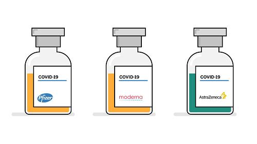 Vacunas: Pfizer/BioNTech, Moderna y AstraZeneca.